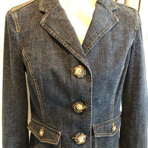 Women's Dark Denim Jean Jacket Blazer Size S